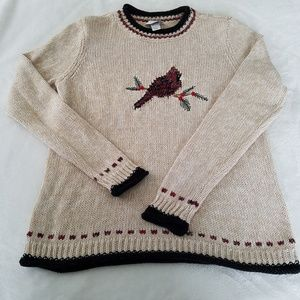 CHRISTOPHER & BANKS EMBROIDERED CHRISTMAS SWEATER